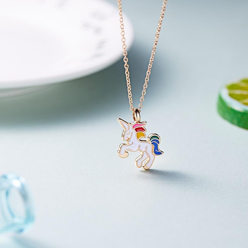 HORSE Necklace For Girls Children Kids Enamel Cartoon Horse jewelry accessories Women Animal Necklace Pendant Unicorn Party 3