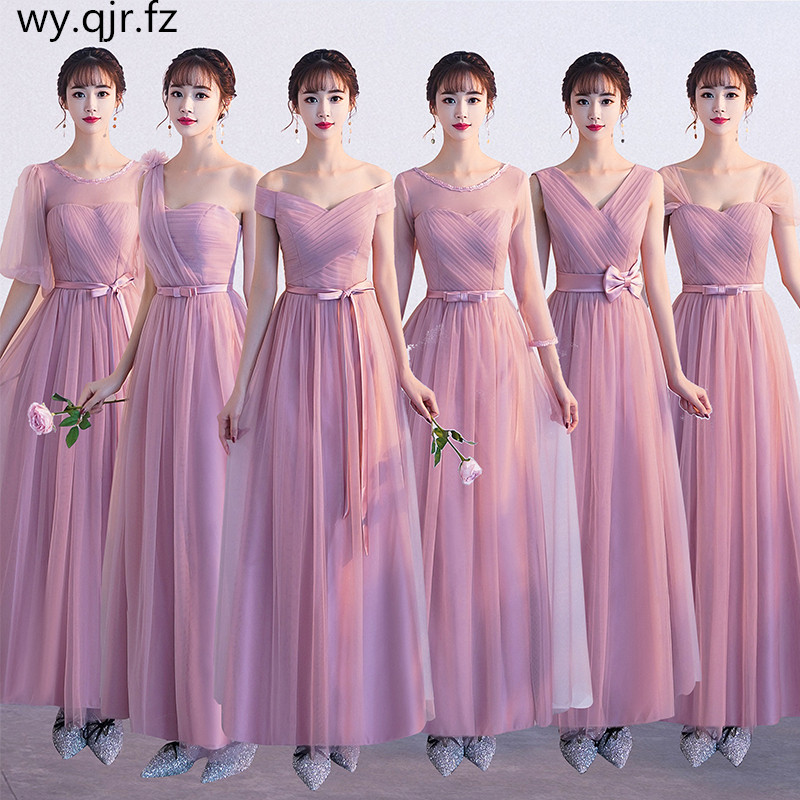 ASN58D#V-neck Bow Pale Mauve Lace Up Chorus Dresses Long Evening Party Dress Prom Gown Wholesale Cheap Women Clothing China