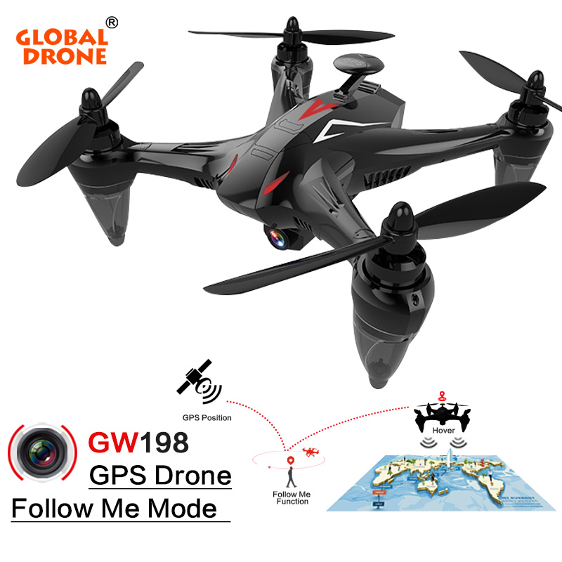 Global Drone GW198 Professional GPS Brushless Quadrocopter with Camera HD Altitude Hold Helicopter Follow Me RC Drone VS Bugs 2 professional syma x5uc 4ch quadrocopter rc drone 2 4g remote control drone with hd camera rc helicopter with original box