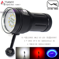 10X XML2+4xRed+4x395 400NM LED 100W HIGH Ligh Photography Video Dive Flashlight Lamp Diving Light Underwater 100m Diving torch