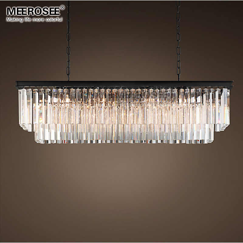 Modern Rectangle Chandelier Lighting Crystal Hanging Lustre de cristal Lamp Dining room foyer lamparas 100% Guarantee
