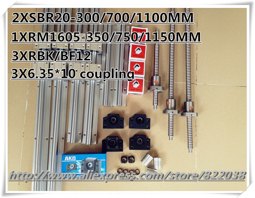 3* SBR20 Linear rail +12*SBR20UU +3* ballscrews RM1605 -L350/750/1150mm +3*BK12/BF12 Ball screw Support +3*coupling for CNC 2 x sbr20 300 600 1000mm linear rail support sets 3 ballscrews rm1605 3 bk bf12 3 coupling