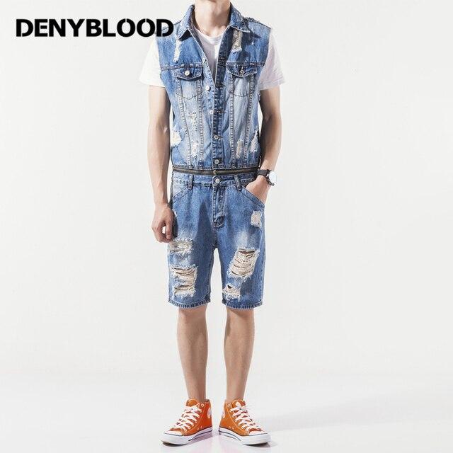 5ce5ee481c65 Denyblood Jeans Mens Denim Overalls Distressed Jeans Ripped Hole Destroyed  Bib Shorts Jumpsuit for Men Short Jeans K8125