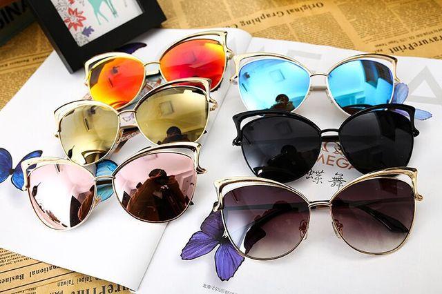 2016 NEW Brand Designer Cat Eye Sunglasses Women Vintage Metal Frame