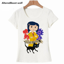 2019 New Harajuku coraline Printed Women T-shirts Casual Tee Tops Summer Short Sleeve Female T shirt Women Clothing