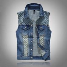 Punk Style Korean Fashion Slim Denim Vests Men Hip Hop Shoulder Holes Jeans Vests For Men Chaleco Hombre Sleeveless Jacket Coat