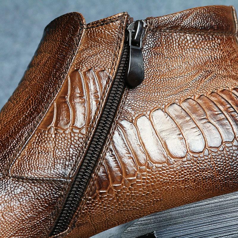 12 Pu Crocodile Taille Brown Polaire Us6 Bout Bottes Britannique Motif En Doublure Fermeture Pointu Plus Cheville La Éclair Chaude Cuir Occasionnels Chaussures Hommes hxQCrsdt
