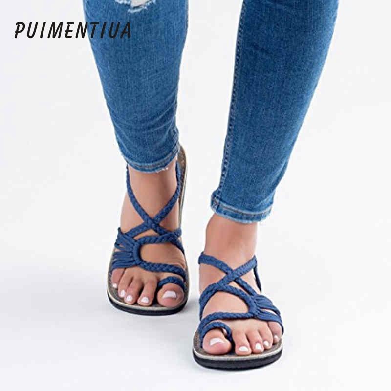 da74a43ac93db SWONCO Women Sandals 2019 Summer Casual Women Shoes PU Leather Ladies Flat  Soft Bottom Slip On Sandals Handmade Woman Sandal