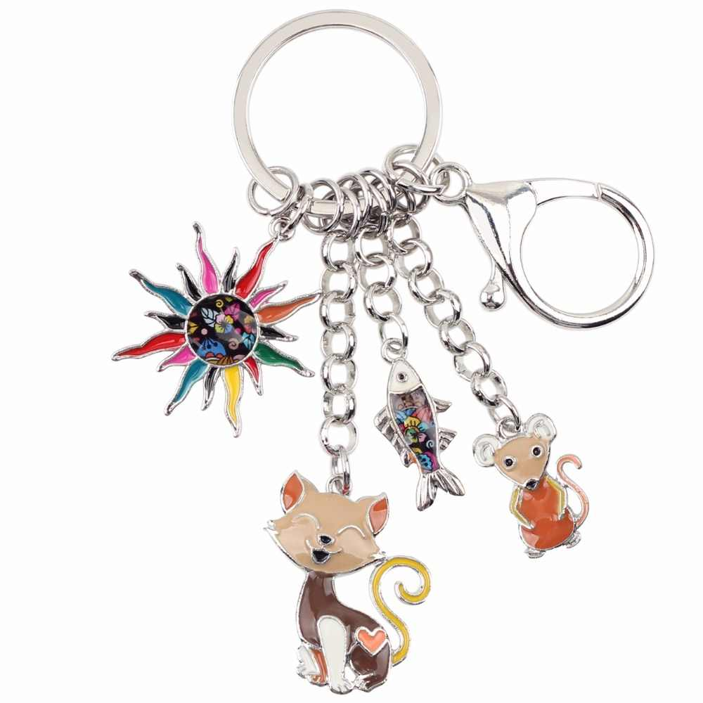 Bonsny émail alliage enfant conte de fées soleil chat poisson souris porte-clés anneau Unique bijoux pour femmes filles cadeau sac charmes