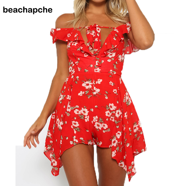 2017 Womens Bodysuit Red Print Flowers Playsuits Summer Ruffles Overalls Playsuit Sexy Beach rompers women jumpsuits JM070304