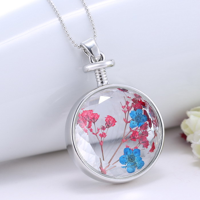 fashion handmade natural dried flower inside glass locket pendant
