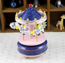 Music Boxes Bless Animated Classic 4 Horse Go Round Musical Carousels Box Classic Christmas Kid Children Birthday Gift 319
