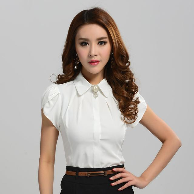 New Arrival 2017 Summer Fashion Women Blouses Shirts Office Las Work White Female Tops