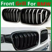 F10 M5 look dual slat gloss black front kidney grill grille mesh f10 grid for bmw 5 series 520i 525i 528i 530i 535i