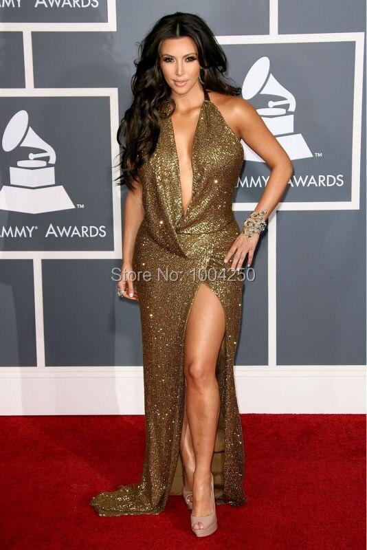 Carpet 2019 Kim Kardashian Dress Sparkling Sexy V neck Backless Gold Long Celebrity Dresses Women Summer Dress Evening Prom Gown