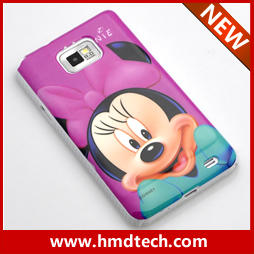 FREE SHIPPING 1 PCS Retail wholesale for purple smile minnie with bow  pc case for samsung galaxy s2 /i9100