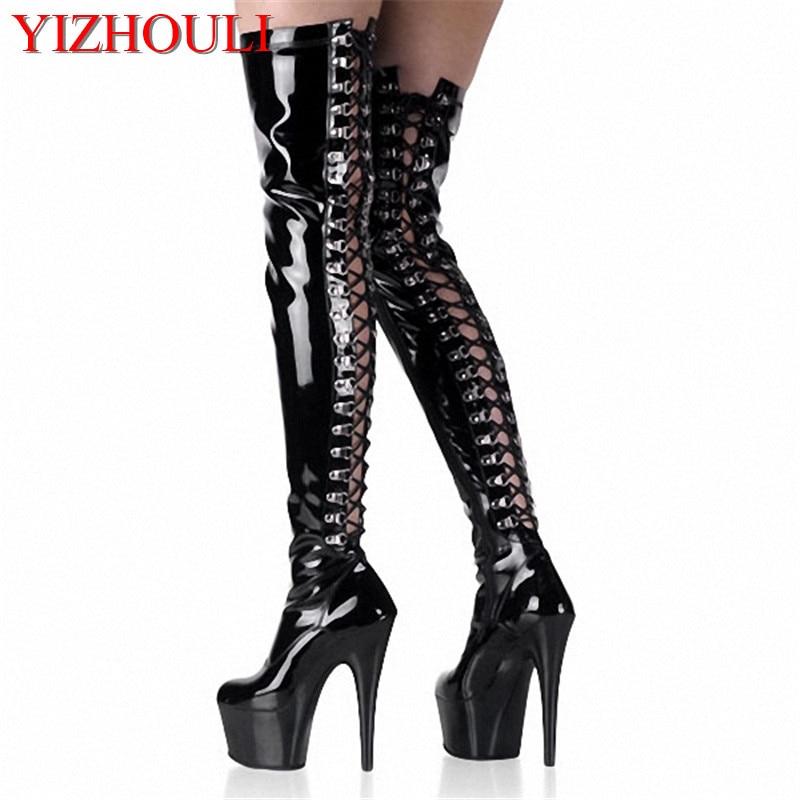 15 cm sobre la rodilla muslo botas gladiador para las mujeres plataforma de tacón  alto sexy discotecas polo botas de baile a9d339a635ea