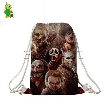 Nightmare JASON VS. FREDDY Crossovers Drawstring Bag I Want To Play A Game Backpacks Softback Travel Bag Boys Girls School Bags фото