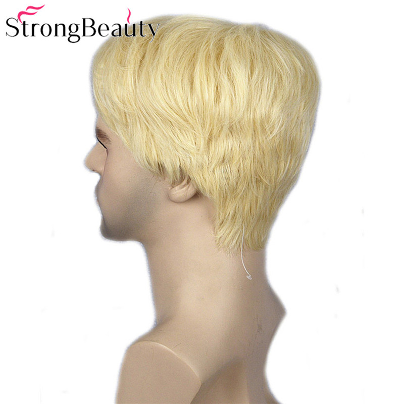 Image 4 - Strong Beauty Gold Blonde Men Wigs Synthetic Wig Short Hair Body Wave Wigs    -