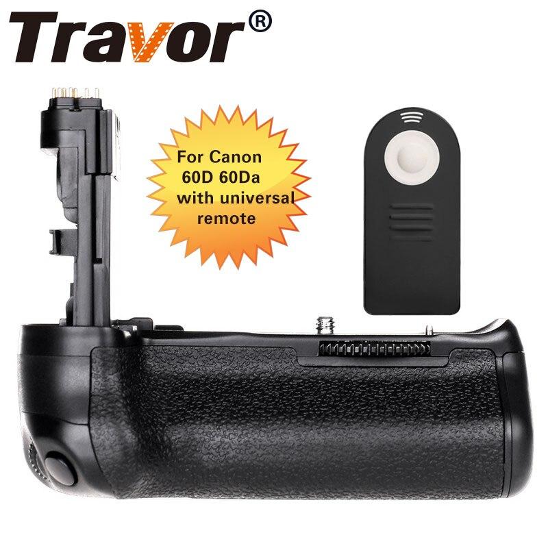 적외선 원격 제어와 CANON 60D 60Da DSLR 카메라 교체 BG-E9에 대한 Travor 배터리 그립
