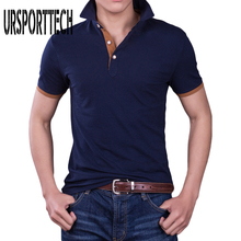 URSPORTTECH Brand clothing New Men Polo Shirt Business & Casual solid male polo shirt Short Sleeve breathable 4XL
