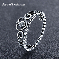 ANFASNI New Arrival 925 Sterling Silver Crown Ring With Clear CZ Authentic Vintage Queen Rings Jewelry