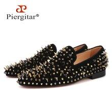 Piergitar yeni gelmesi erkekler süet ayakkabı ile altın ve siyah sivri Moda parti ve ziyafet erkek mokasen ayakkabıları artı boyutu sigara terlik