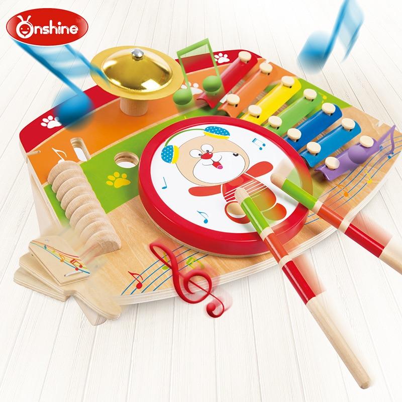 Onshine Marque bébé en bois 5-en-1 musikstation musique jouets/Enfants Enfant ours avec tambour frappant le piano allegro jouets éducatifs