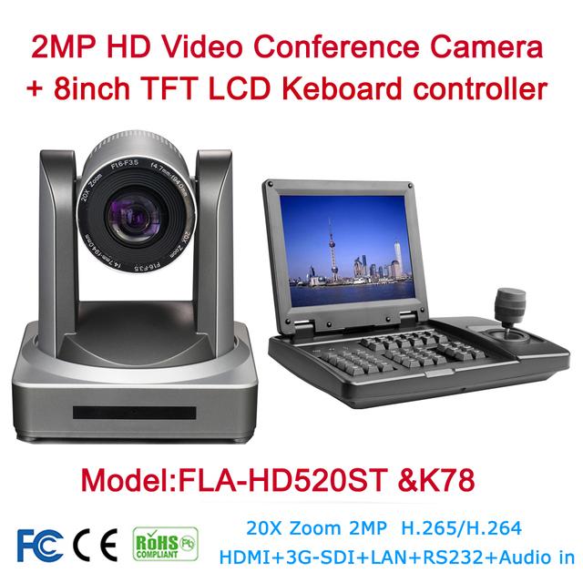 Video Conference Camera System Kit 2MP 1080P HDSDI SDI IP 20X HD Onvif Video Live Media Cam + 8inch TFT LCD Keyboard controller