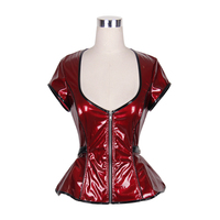 Devil Fashion Sleek Wet Look PVC Leather Gothic Short Sleeve Jackets Steampunk Cybergothic Slight Stretch Short