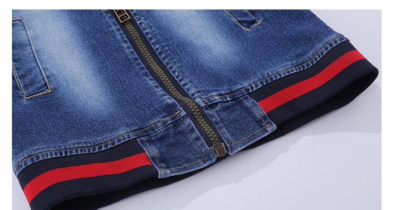 Bordadas O-pescoço jaqueta Jeans + calça Jean 2 pcs conjunto terno