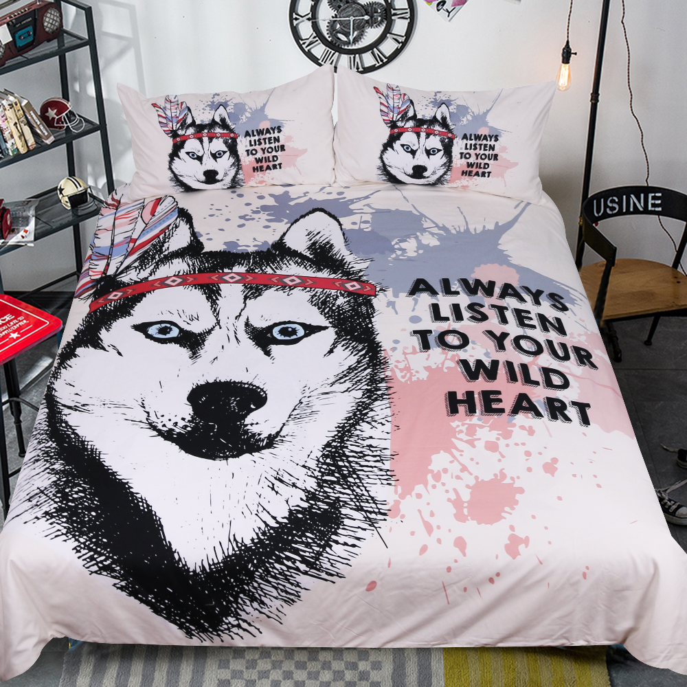 Free shipping children cartoon wolf head 3pcs bedding set no bed sheet twin full queen king size home textile