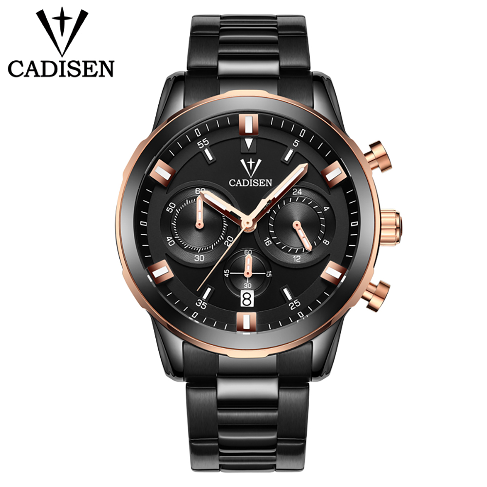 Cadisen C9011 Quartz Watch Men Sport Mens Watches Clock Quartz Wristwatch Business Waterproof Sports Wrist Watch relogio + Box