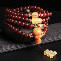 Blood Red Color 8mm*108 Prayer Beads Natural Goat Horn Bone Materials Bodhi Tongzi Tee for Pray and Meditation Bracelets