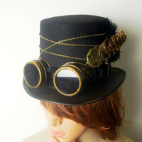 Gothic Vintage Steam Punk Hat Gear Goggles Chain Glasses Top Hat Punk Unisex Party Black Fedora