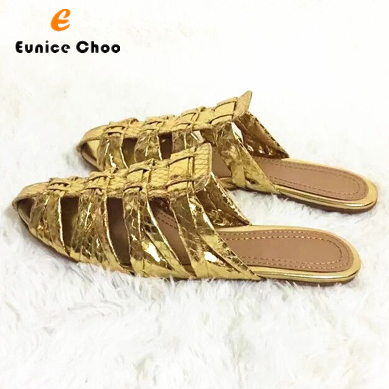 Eunice Choo Gold Snakeskin Embossed Leather Woman Slippers Hollow Out Slip On Mules Flat Casual Shoes Summer Women Sandals