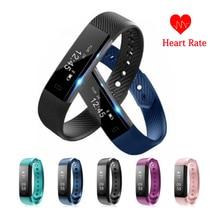 ID115 HR font b Smart b font Band Bluetooth Heart Rate Monitor Fitness Tracker Pedometer font