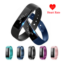 ID115 HR Smart Band Bluetooth Heart Rate Monitor Fitness Tracker Pedometer Smart Wristband Bracelet for Android IOS Pk Mi Band 2