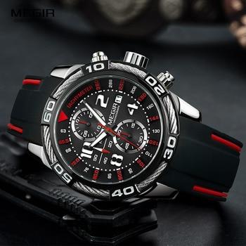 MEGIR Men's Fashion Sports Quartz Watches Silicone Strap Chronograph Analogue Wrist Watch for Man Military Casual Watch 2055G