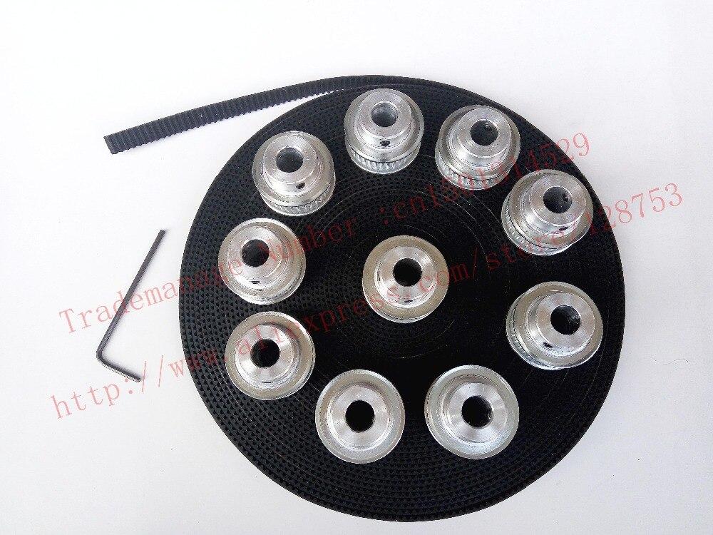 10 pcs 40 dents GT2 Poulie de Distribution Alésage 8mm + 10 mètres GT2 courroie Largeur 6mm 2GT poulie à courroie pour 3D imprimante cnc machine