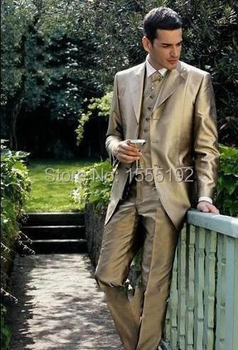 Gold Groom Tuxedo Notch Lapel Best Man Groomsmen Men Wedding Suits ...