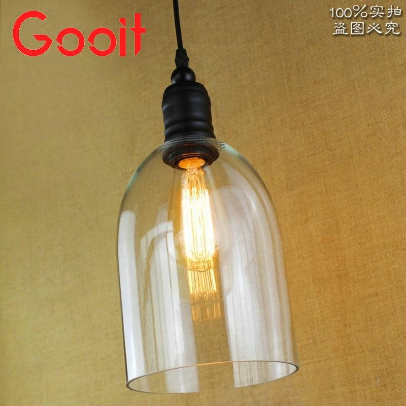 ФОТО E27 24CM Vintage Industrial Ceiling Lamp Shade Glass Pendant Lights Glass