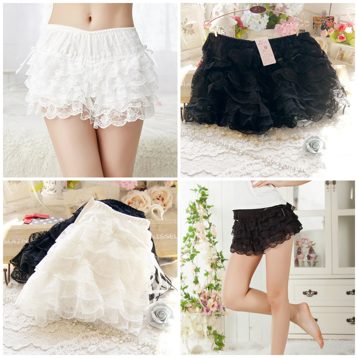 Japanese Cute Style For Girl Women Sexy Lace Shorts Elastic Waist Bottoming Shorts