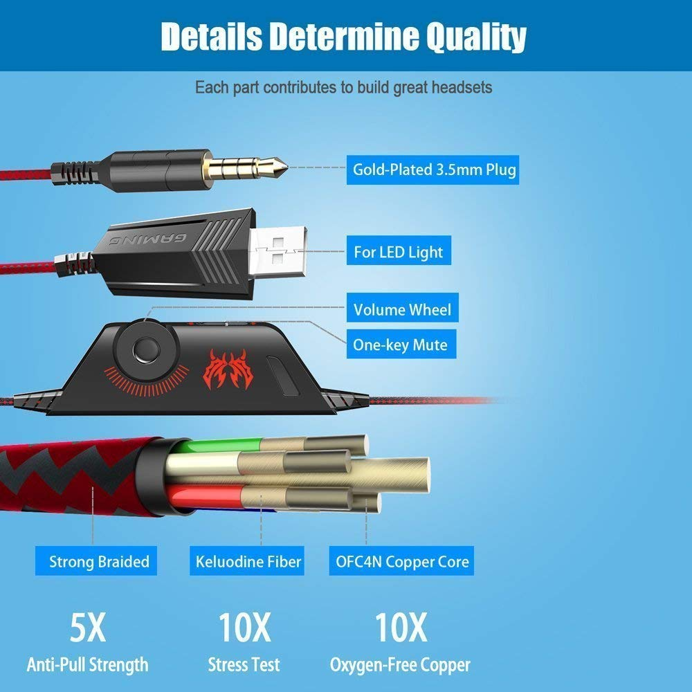 KOTION EACH G9000 Stereo Gaming Headset Noise Cancelling Over Ear Headphones with Mic LED Light for PS4 PC Xbox One Controller in Headphone Headset from Consumer Electronics