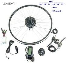 Электрическое преобразование велосипедов комплект 48V 350W задний Кассетный концентратор мотор с дисплеем LCD6