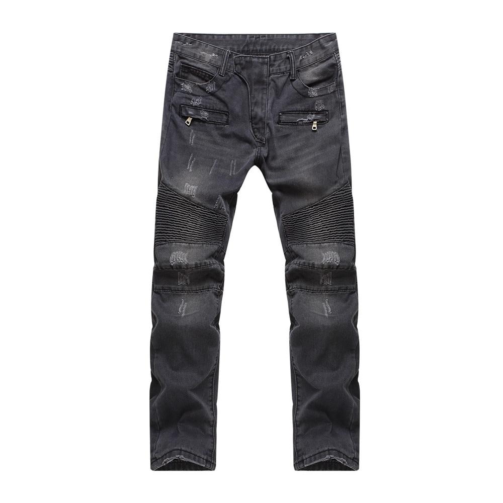 Mens Fashion Vintage Hole Ripped Black Biker Jeans Male Casual Slim Patch High Quality Denim Pants