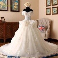 Loverxu Vestido De Noiva Sexy Strapless Princess Wedding Dresses 2018 Short Sleeve Illusion Beaded A Line