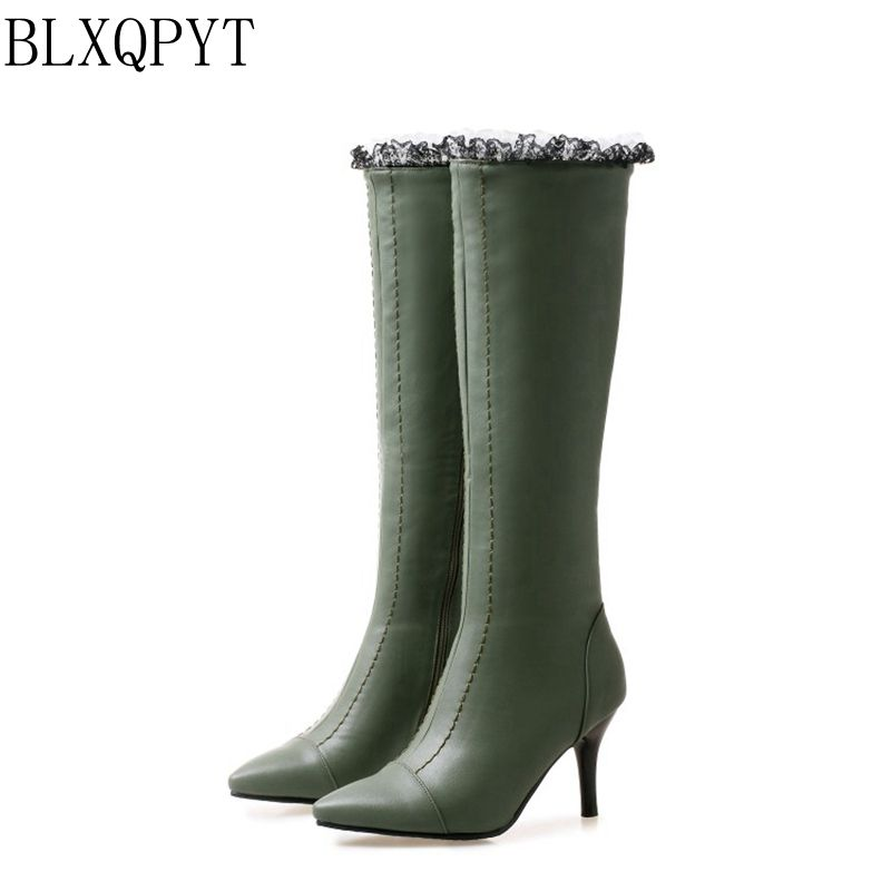 BLXQPYT New Lage size 32-48 Women Knee- High Boots Winter wedding Shoes High Heels Pointed Toe high quality Woman Boots 08-16 2016 women knee high boots leather winter boots pointed toe zip casual shoes women high heels big size 32 45 black boots woman
