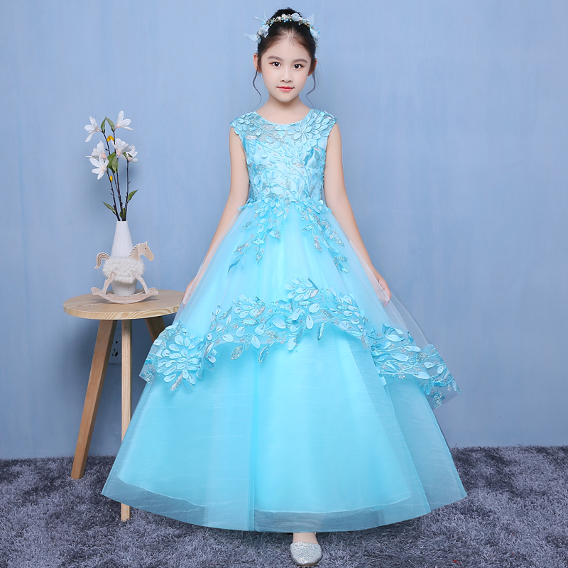Appliques Flower Girl Dresses Ball Gown Girls Formal Dress Floor Length Kids Pageant Dress for Prom Party Birthday Costume B43 girl party dress christmas dress for girl 2017 summer formal girl flower gir dresses junior girls prom gown dresses baby clothes