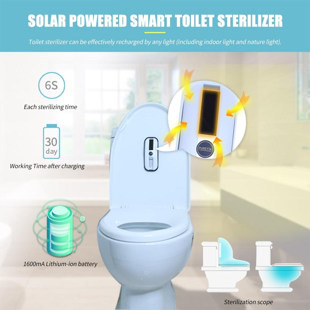 Le Jeune moderne.Santé-Stérilisateur UV de toilette Intelligent rechargeable et solaire automatique-Stérilisateur de toilette Intelligent. Désinfectionpar lumière UV. Rechargeable par port USB ou avec capteur solaire intégré. S'allume automatiquement une fois la lunette des toilettes baissée.